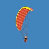 Man paragliding on a parachute. Parachutist descending with a parachute