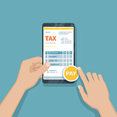 Man pay bill using smartphone. Online invoice paying, bookkeeping, accounting via phone. Man holding mobile phone with bill on screen. Fast payment of goods, service, bank, restaurant via phone Vector