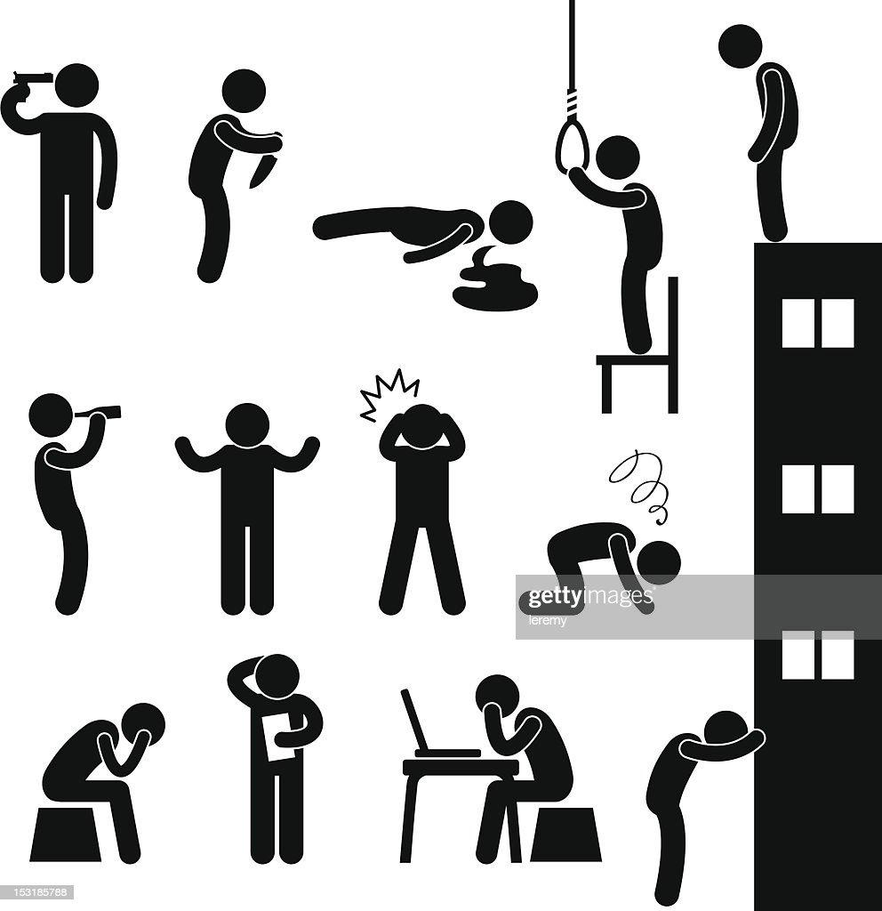 Man People Depression Sad Suicide Pictogram