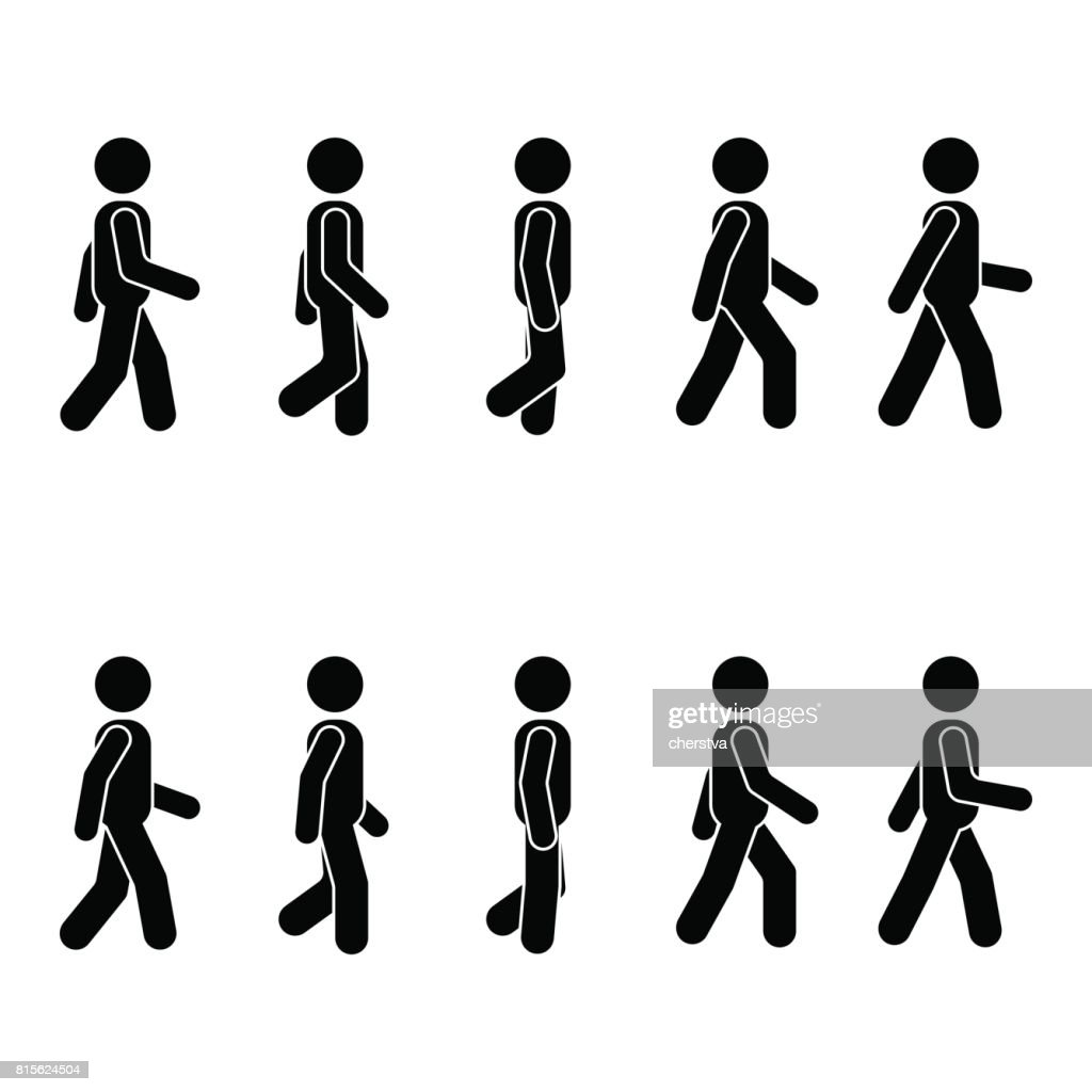 Man people various walking position. Posture stick figure. Vector standing person icon symbol sign pictogram on white