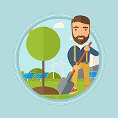 Man plants tree vector illustration