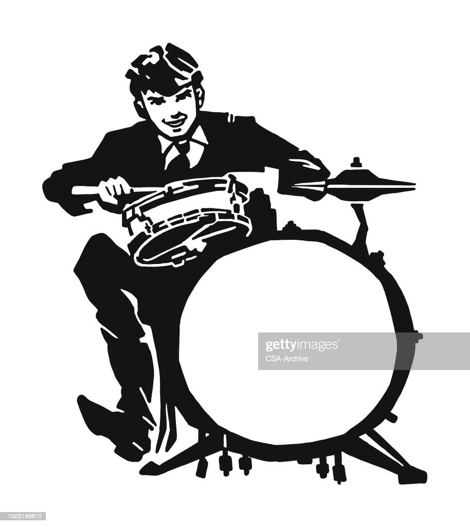 Man Playing A Drum Set stock illustration - Getty Images