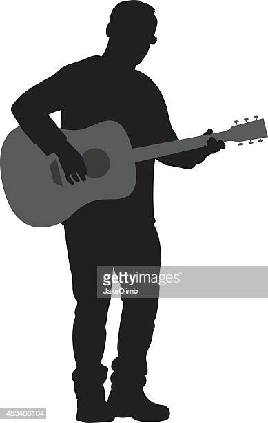 man playing acoustic guitar silhouette - guitarist stock illustrations, clip art, cartoons, & icons