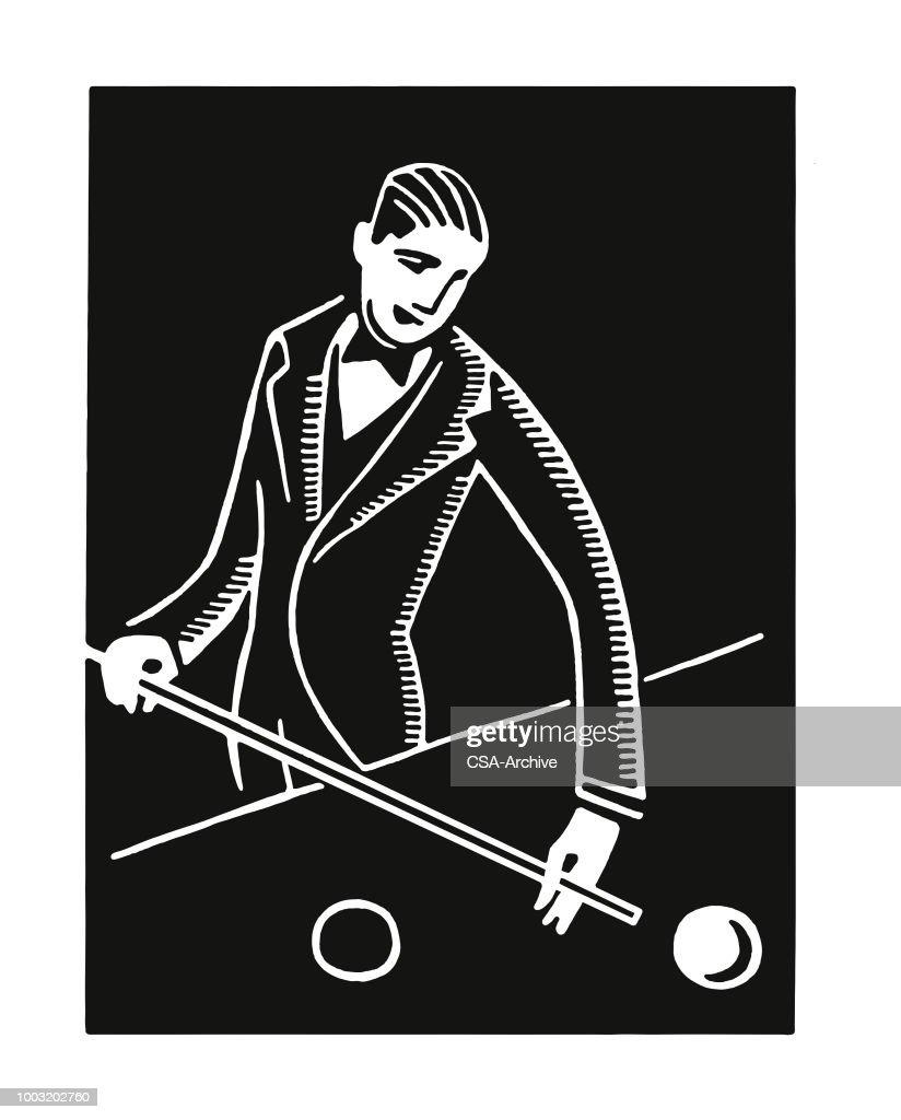Man spelen biljart : Stockillustraties