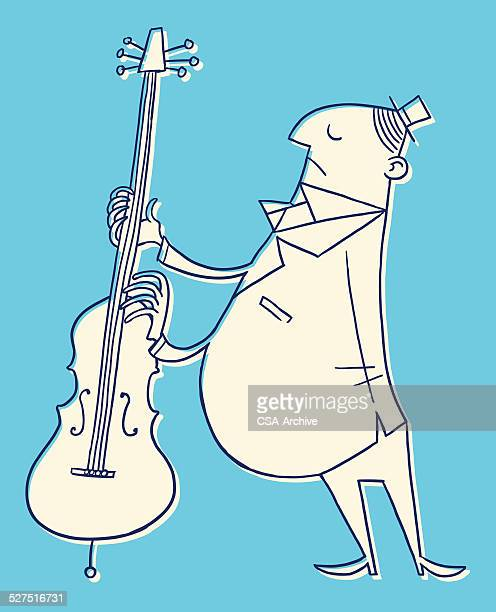 man playing double bass - bass instrument stock illustrations, clip art, cartoons, & icons