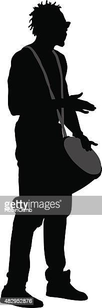 man playing drum - drum percussion instrument stock illustrations, clip art, cartoons, & icons