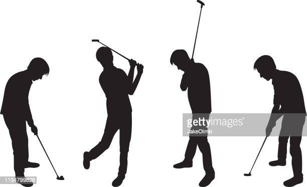 Man Playing Golf Silhouettes