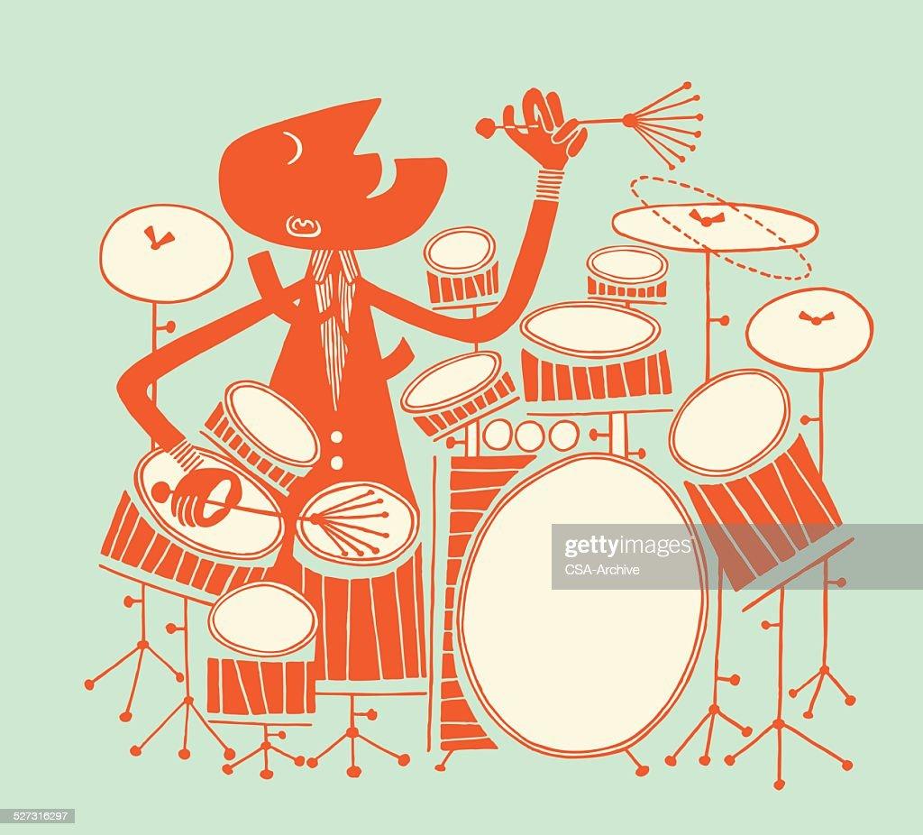 Man Playing Large Drum Kit