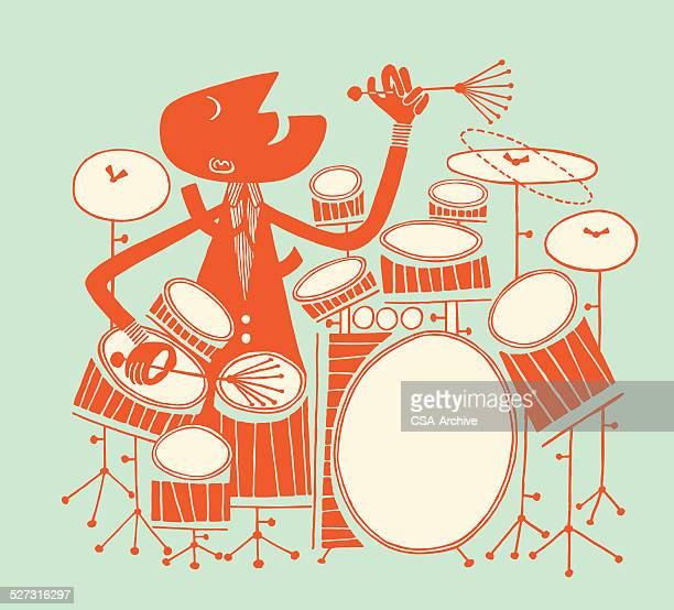 man playing large drum kit - snare drum stock illustrations, clip art, cartoons, & icons