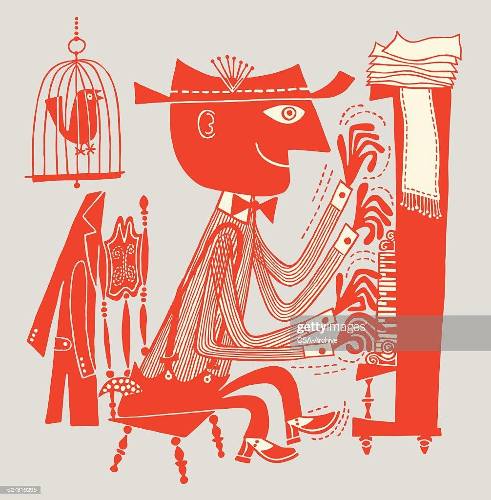 Man Playing Piano Fast : stock illustration