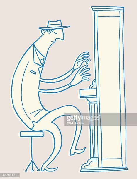 man playing piano - jazz stock illustrations, clip art, cartoons, & icons