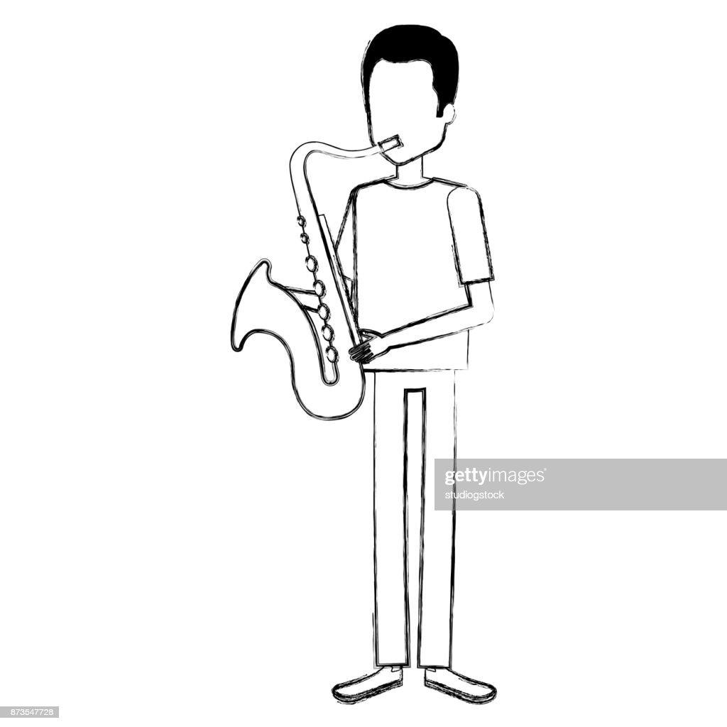 man playing saxophone character