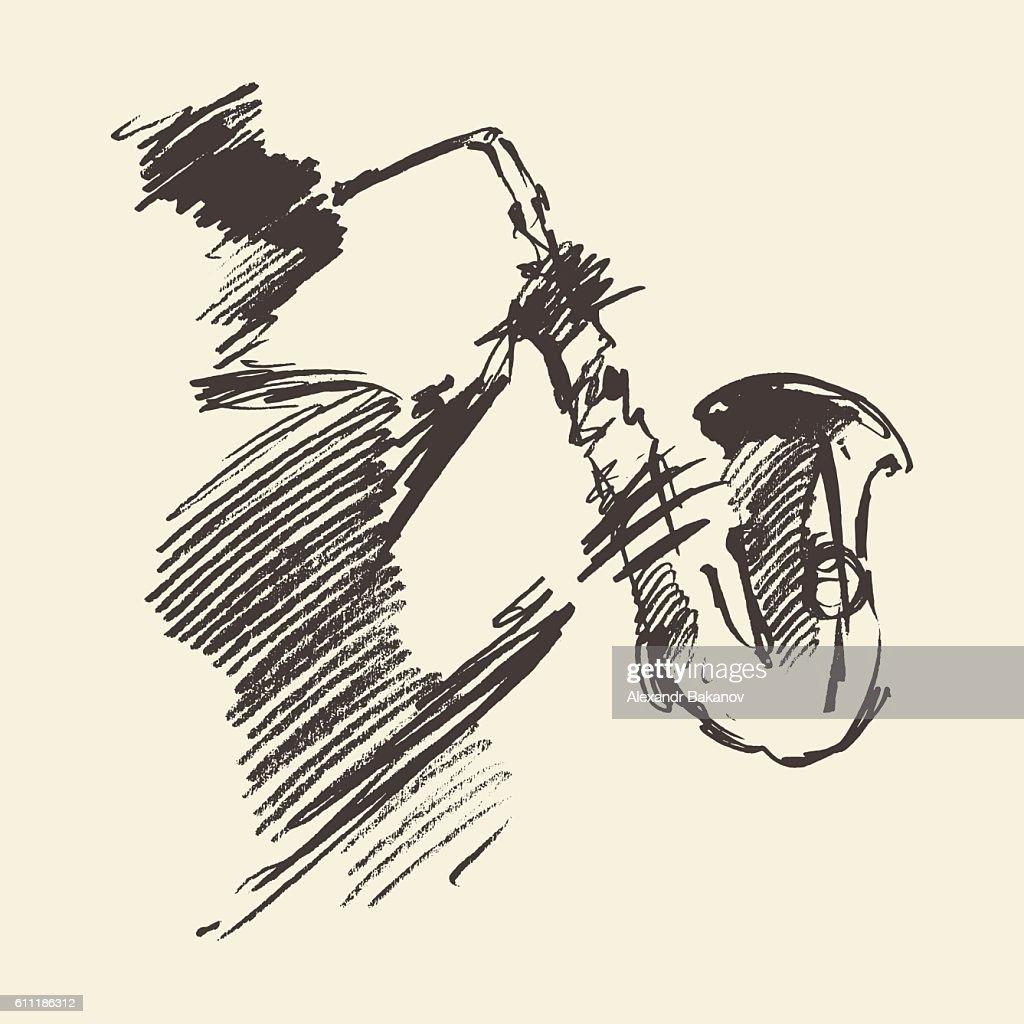 Man playing saxophone drawn vector sketch.