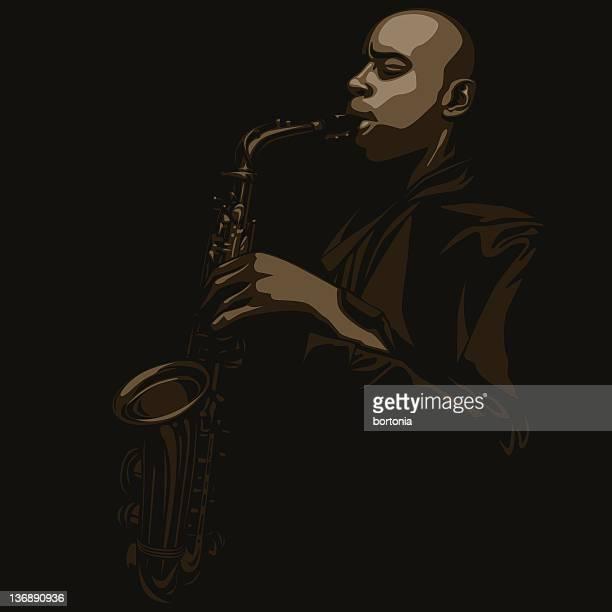 man playing saxophone - jazz stock illustrations, clip art, cartoons, & icons