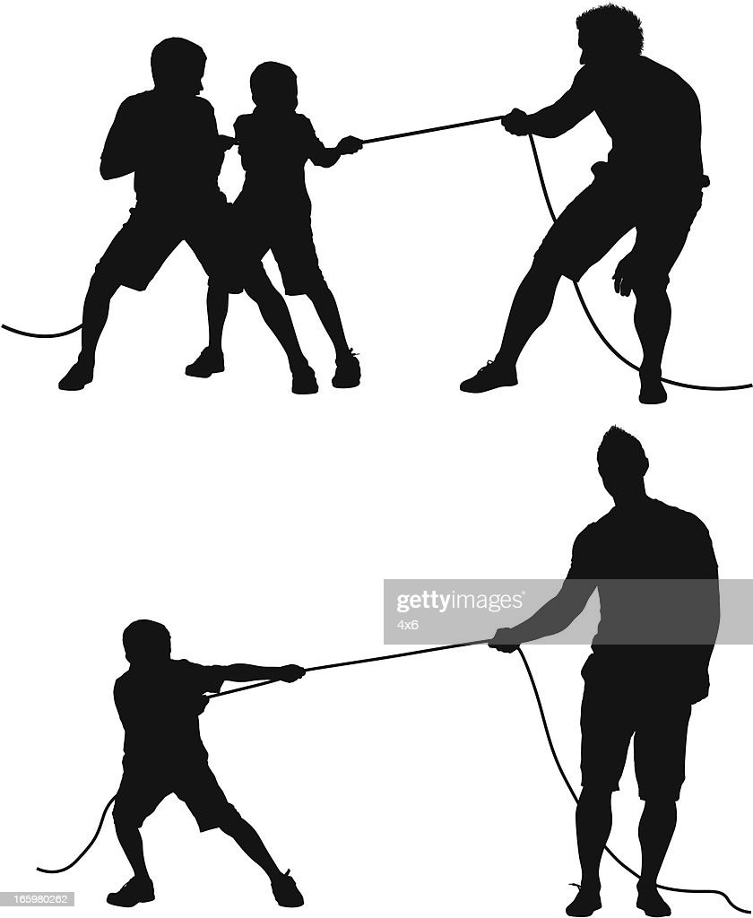 Man playing tug-of-war with children