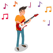 A man plays the electric guitar, guitarist plays the guitar. Isometric illustration of a man with a guitar.
