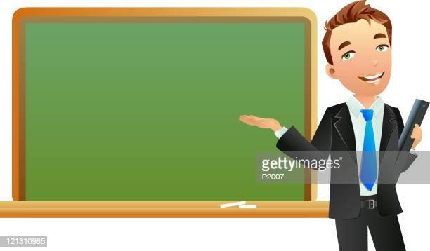 stockillustraties, clipart, cartoons en iconen met man pointing at blackboard - oudere mannen