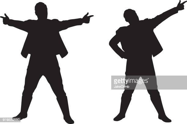 Man Pointing Finger Guns Silhouettes