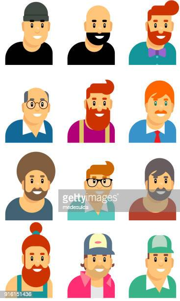 mann-portrait-avatar-symbol - computer benutzen stock-grafiken, -clipart, -cartoons und -symbole