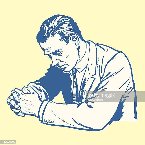 ilustraciones, imágenes clip art, dibujos animados e iconos de stock de hombre rezar - hombre llorando