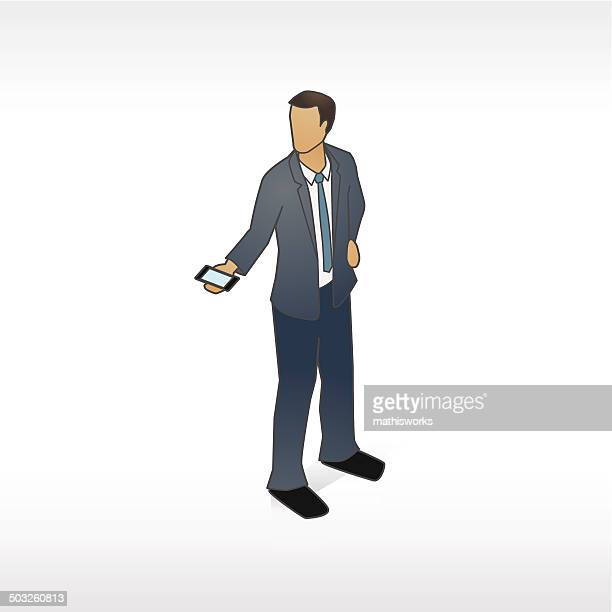 man presenting phone illustration - mathisworks stock illustrations