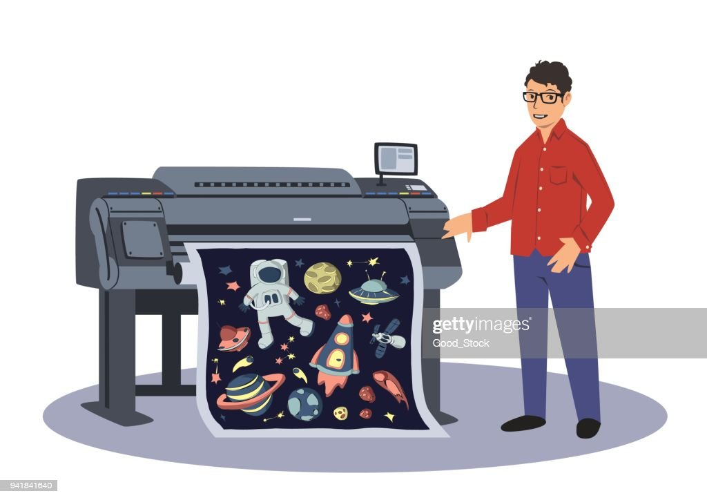 A man prints on a large-format plotter. Printing worker. Vector illustration isolated on white background.