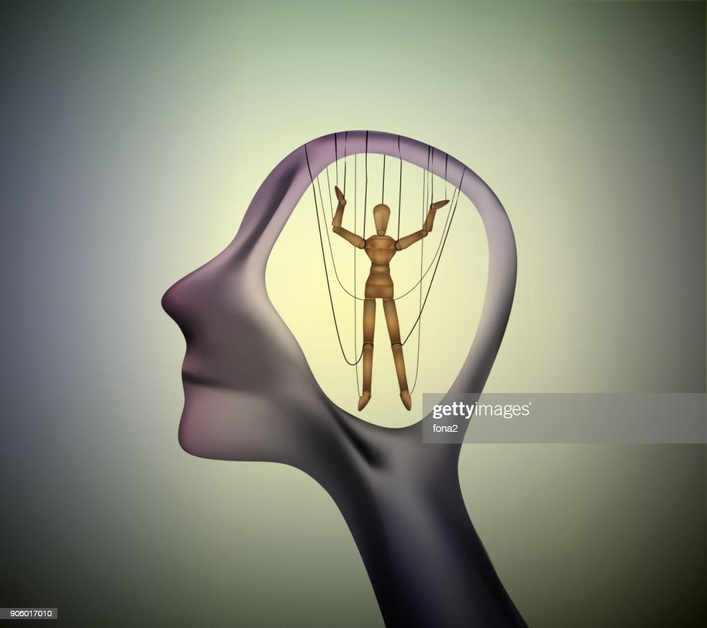 man profile head with marionette inside, manipulate the people concept, : stock illustration