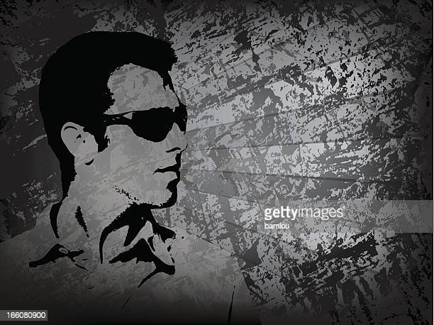 man profile sunglasses with grunge background - masculinity stock illustrations, clip art, cartoons, & icons