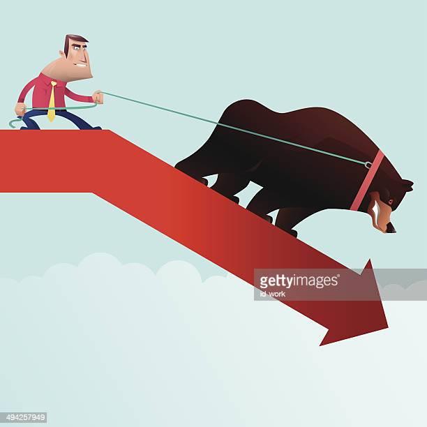 man pulling bear - bear market stock illustrations