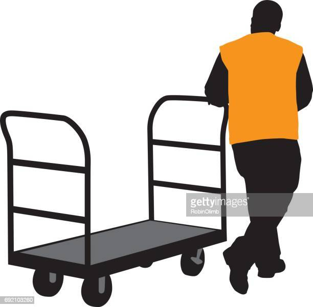 man pulling cart silhouette - waistcoat stock illustrations, clip art, cartoons, & icons