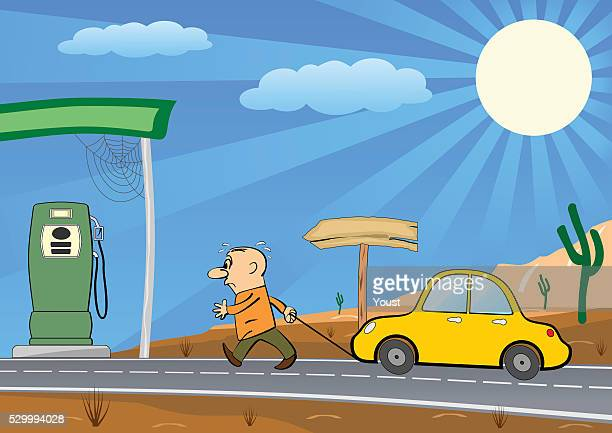 man pulling empty car into a gas station - gas prices stock illustrations, clip art, cartoons, & icons