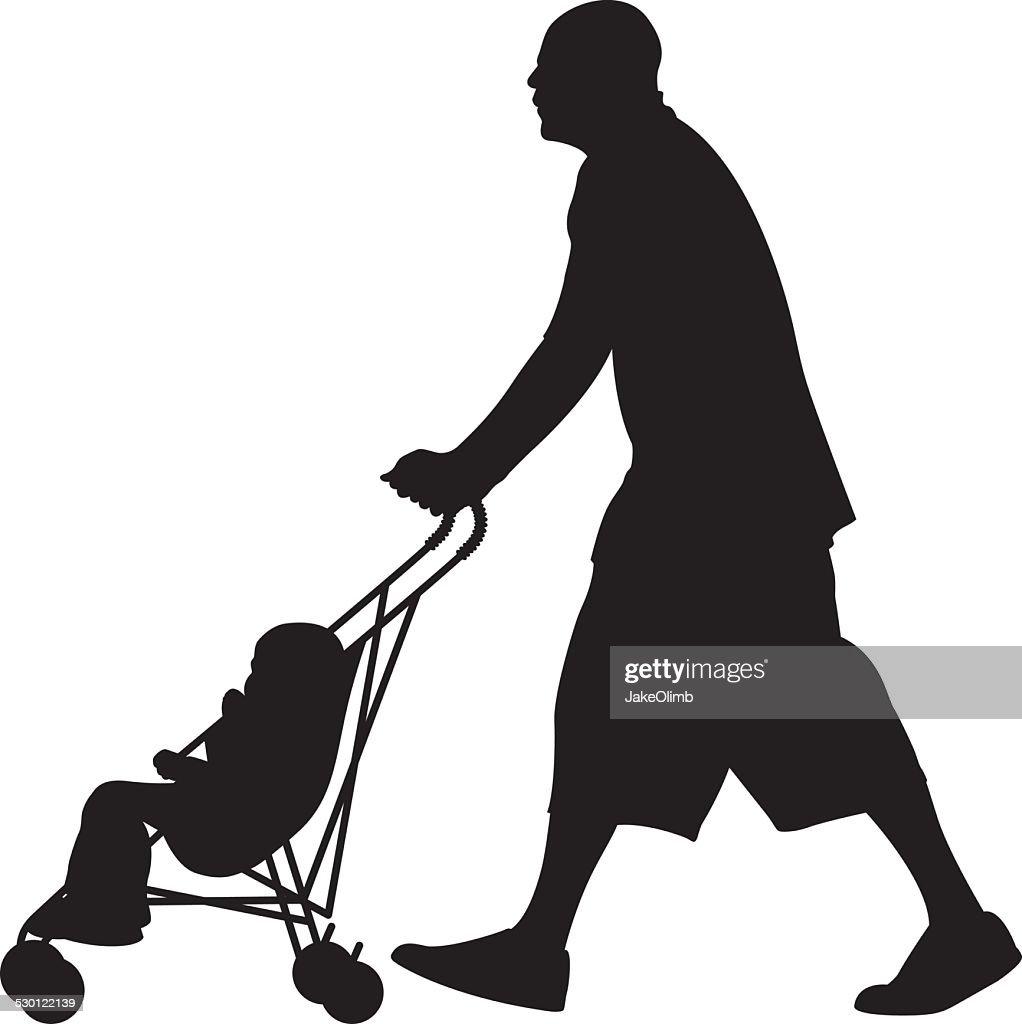man pushing baby in stroller silhouette