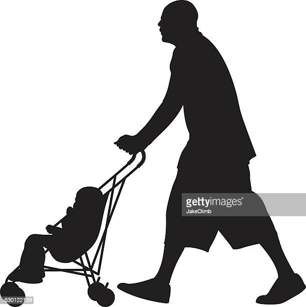 man pushing baby in stroller silhouette - three wheeled pushchair stock illustrations, clip art, cartoons, & icons