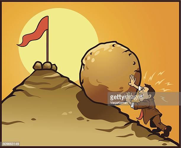 Mann Schieben großen Stein bergauf