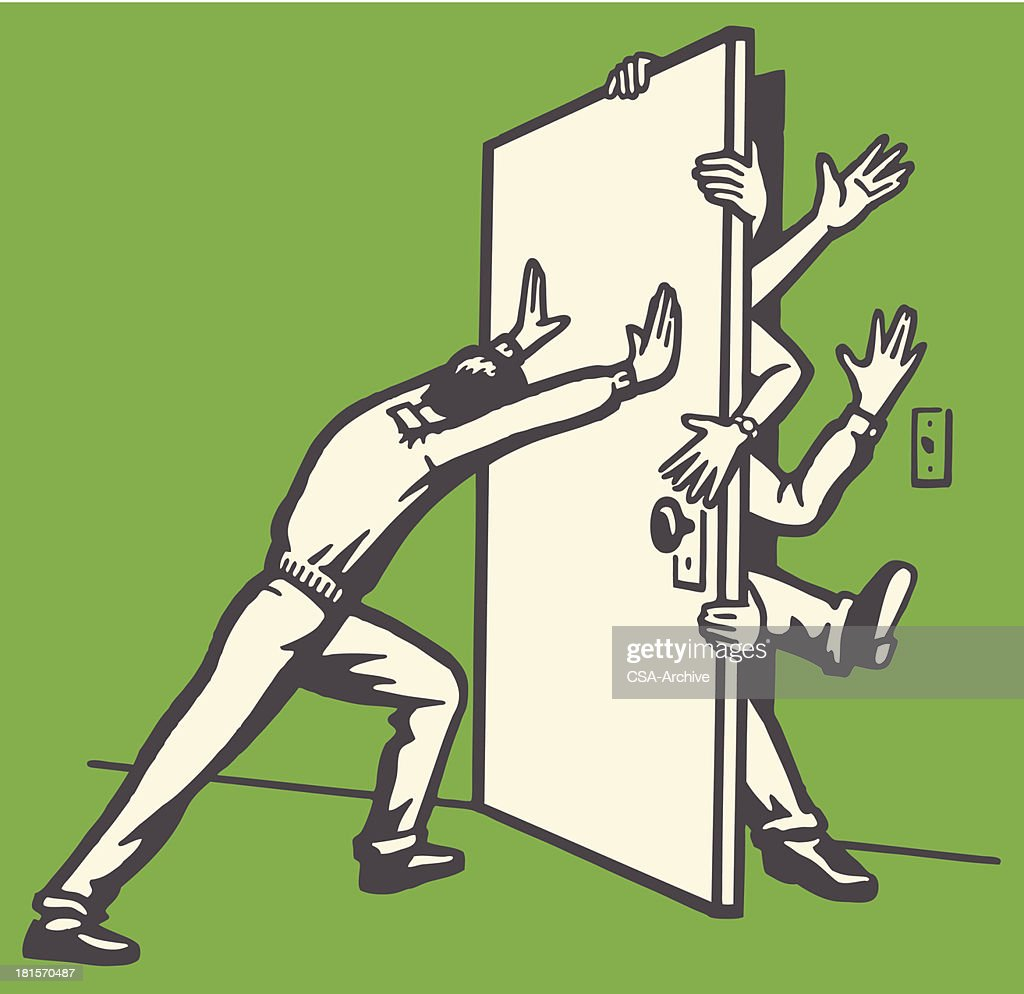 Man Pushing Door Shut with People Struggling to Get Out : stock illustration