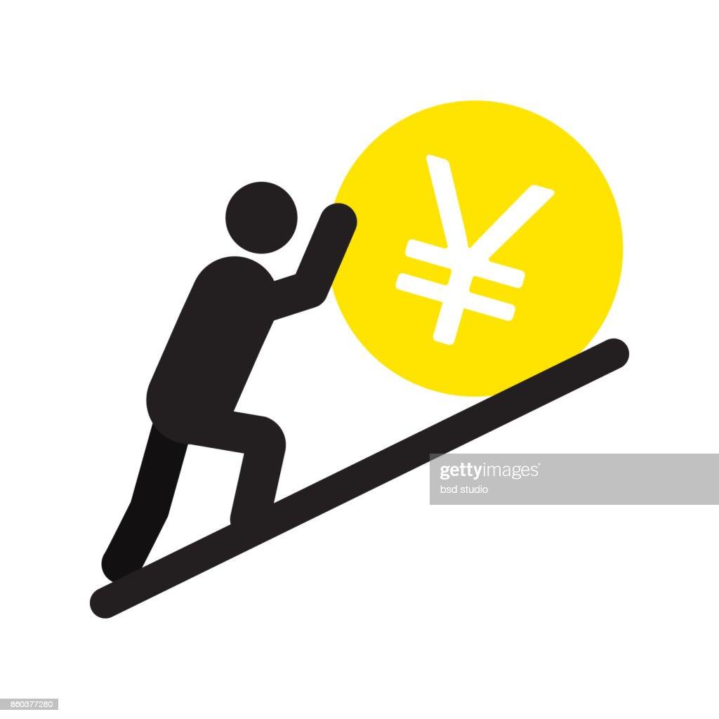 Man pushing yen sign up icon