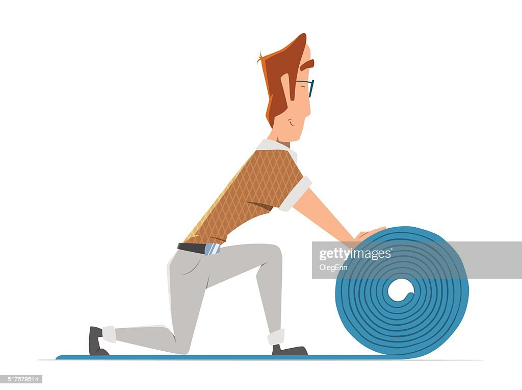 Man putting down linoleum flooring. Flooring installation illust