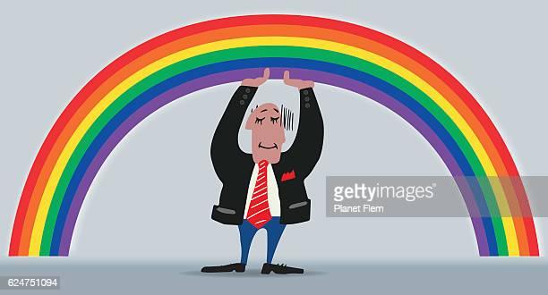 Man raising a rainbow above his head