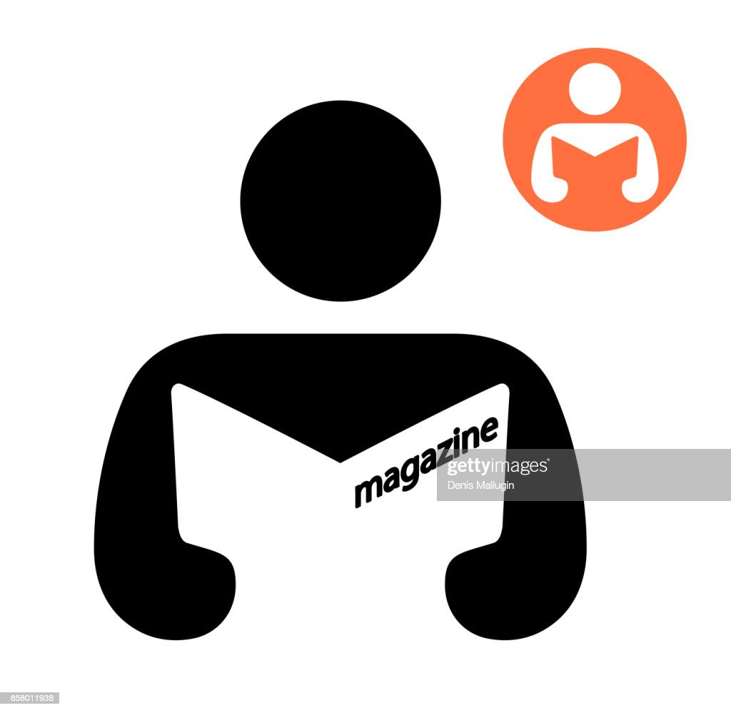 Man reading a magazine icon