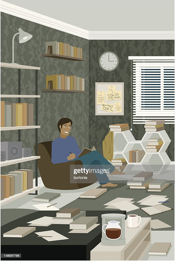 Man Reading Book in Messy Room Covered with Paper : stock illustration