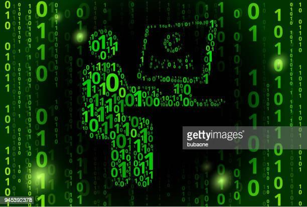 Man Reading e-book Binary Code Vector Pattern Background