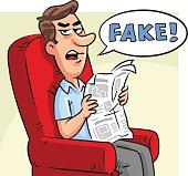 Man Reading Fake News