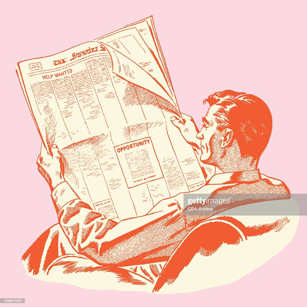 Man Reading Newspaper : stock illustration