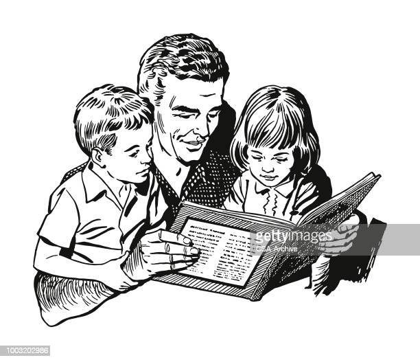 man reading to children - father stock illustrations