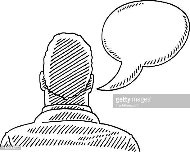 Man Rear View Speech Bubble Drawing