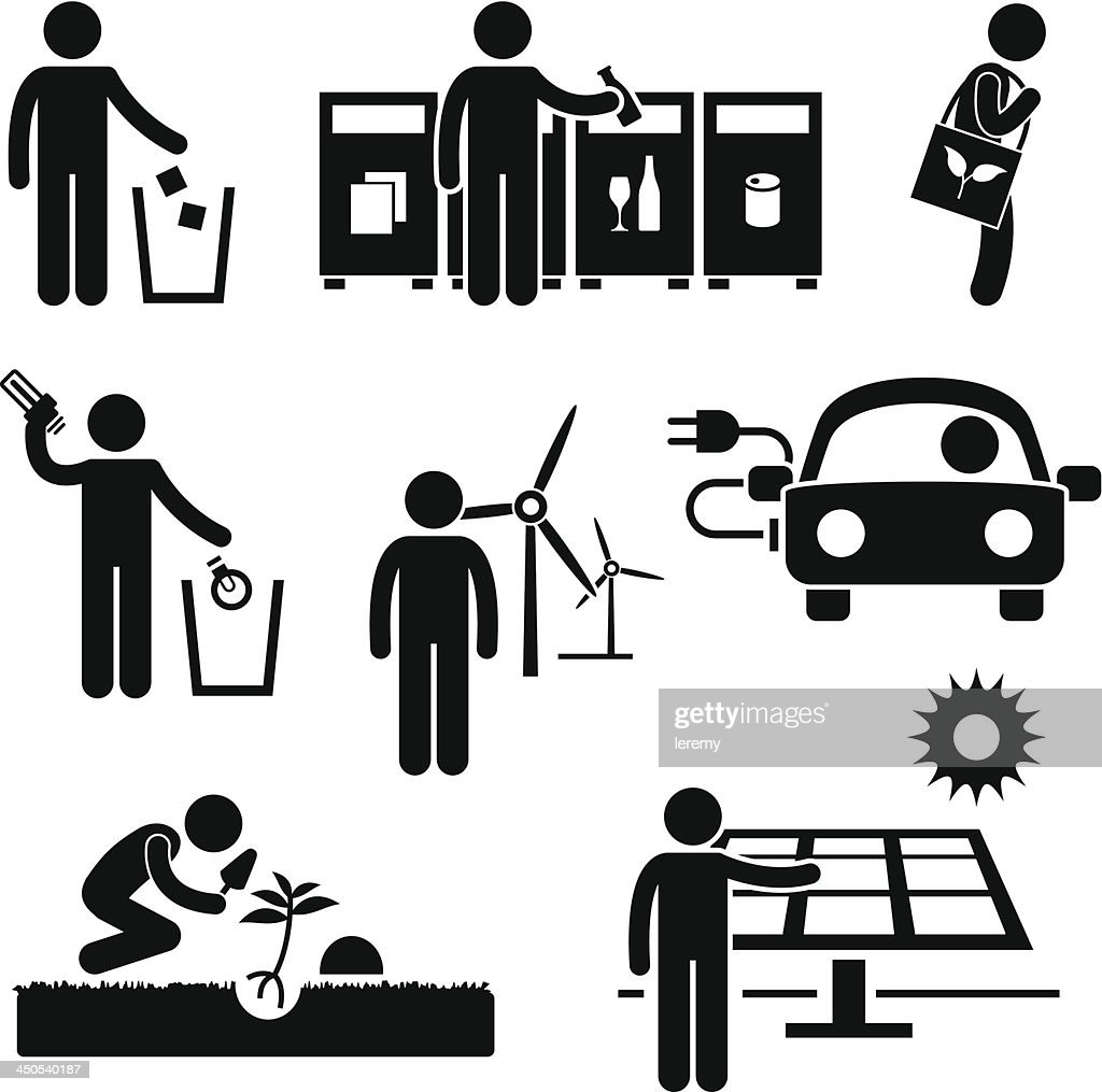 Man Recycle Green Environment Pictogram