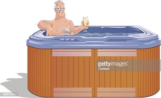 man relaxing in hot tub