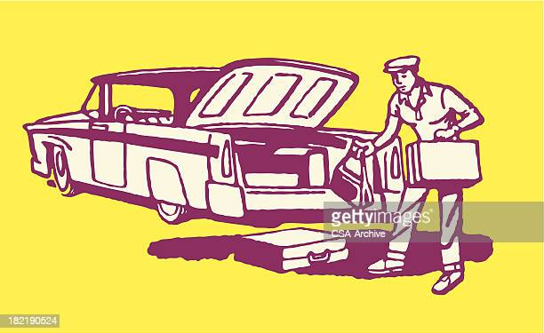 Man Removing Luggage from Trunk of Car