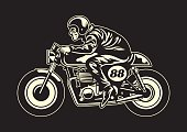 man ride a cafe racer