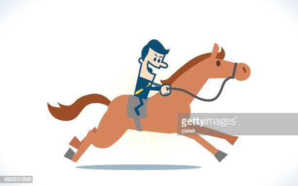 man ride a horse - horseback riding stock illustrations, clip art, cartoons, & icons